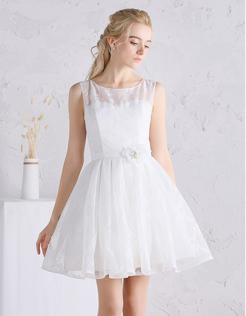 Charming A-Line Sleeveless Mini Satin Lace Summer Wedding Dress