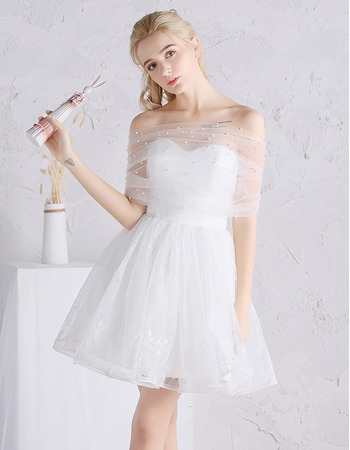 2018 Designer Charming Off-the-shoulder Mini/ Short Tulle Wedding Dress