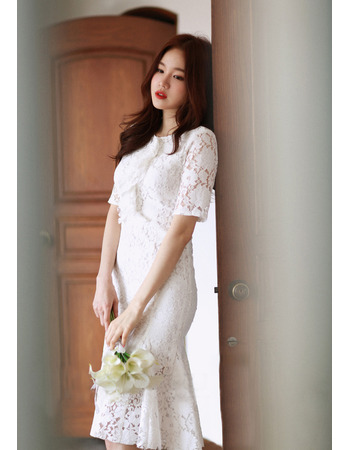 Designer Trumpet Short Sleeves Knee Length Lace Reception Wedding Dress