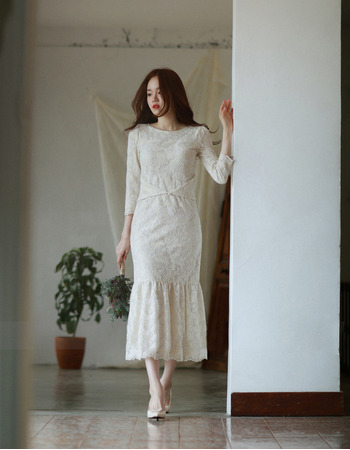 Designer Trumpet Tea Length Lace Reception Wedding Dress with Long Sleeves
