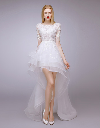 2018 Designer High-Low Petite Wedding Dress with Short Sleeves
