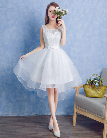 Beautiful A-Line Sleeveless Knee Length Lace Organza Wedding Dress