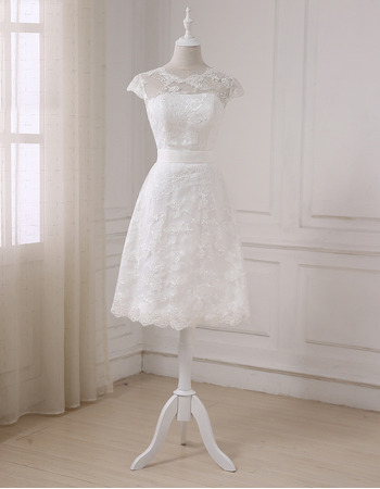 Modern Cap Sleeves Knee Length Lace Petite Wedding Dress