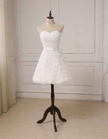 Charming Sweetheart Knee Length Floral Skirt Petite Wedding Dress