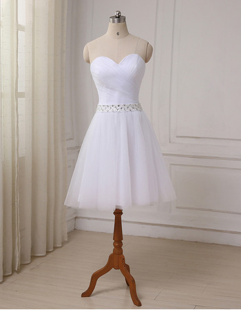 2018 Modest A-Line Sweetheart Knee Length Satin Tulle Wedding Dress