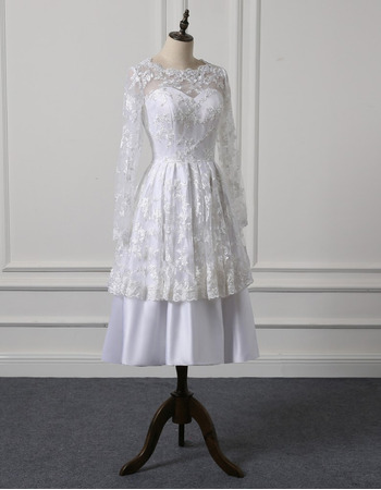 Chic Tea Length Lace Taffeta Wedding Dress with Long Sleeves
