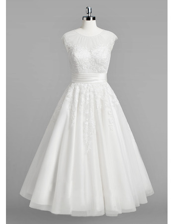 Modest A-Line Sleeveless Tea Length Reception Wedding Dress