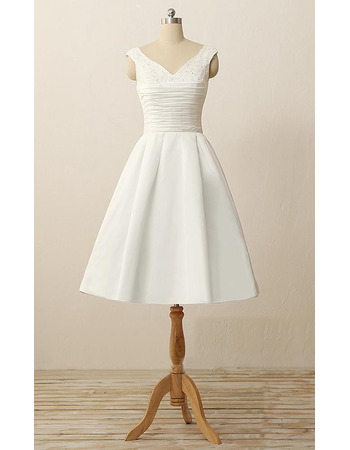 Classic A-Line V-Neck Knee Length Satin Reception Wedding Dress