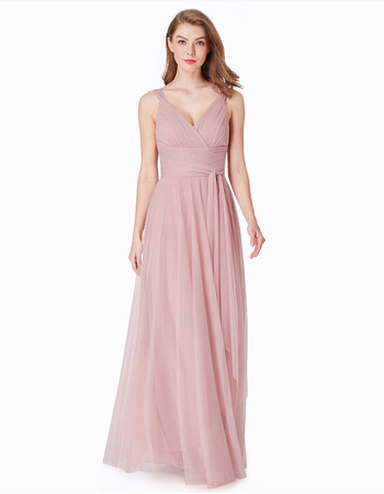 Affordable V-Neck Floor Length Chiffon Bridesmaid Dress with Straps