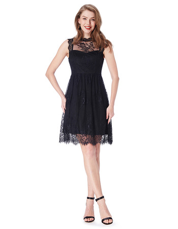 2018 New Blush Sleeveless Mini/ Short Chiffon Lace Black Bridesmaid Dress