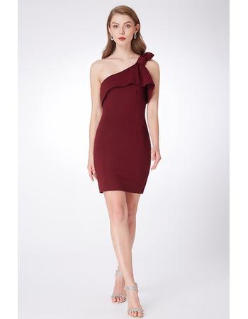 Chic Sheath One Shoulder Mini/ Short Satin Bridesmaid Dress