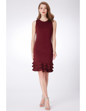 Inexpensive Sheath Sleeveless Mini/ Short Satin Bridesmaid Dress