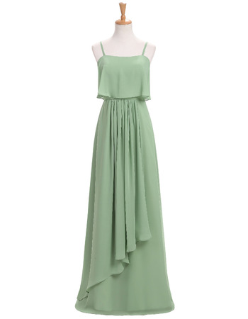 Romantic Floor Length Chiffon Bridesmaid Dress with Spaghetti Straps