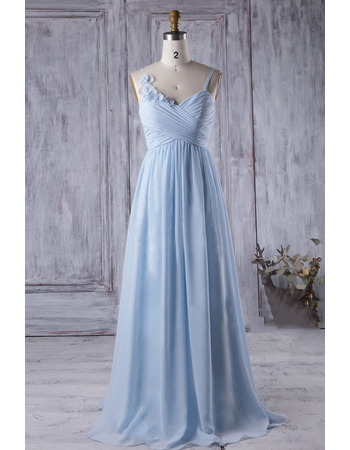 2018 Style Spaghetti Straps Pleated Long Chiffon Bridesmaid Dress