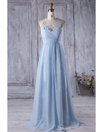 2018 Style Spaghetti Straps Floor Length Chiffon Bridesmaid Dress