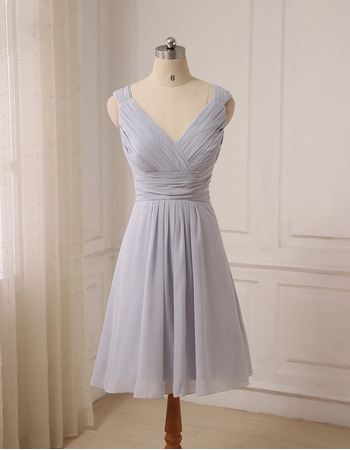 Affordable V-Neck Sleeveless Knee Length Chiffon Bridesmaid Dress