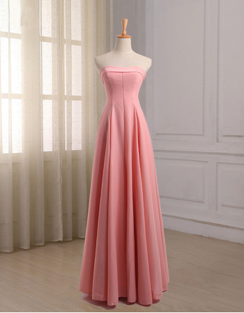 Affordable A-Line Strapless Floor Length Chiffon Bridesmaid Dress