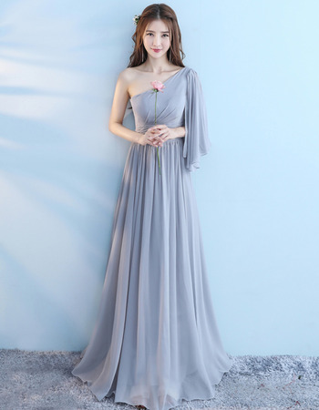 2018 Amazing One Shoulder Floor Length Chiffon Bridesmaid Dress