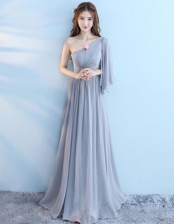 2018 New One Shoulder Floor Length Chiffon Bridesmaid Dress