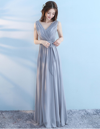 Best Elegant V-Neck Sleeveless Floor Length Chiffon Bridesmaid Dress