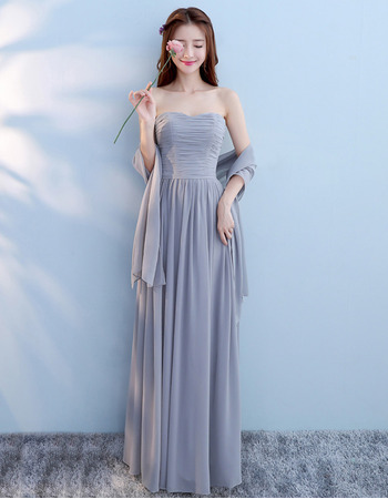 Custom Modern Strapless Floor Length Chiffon Lace-Up Bridesmaid Dress