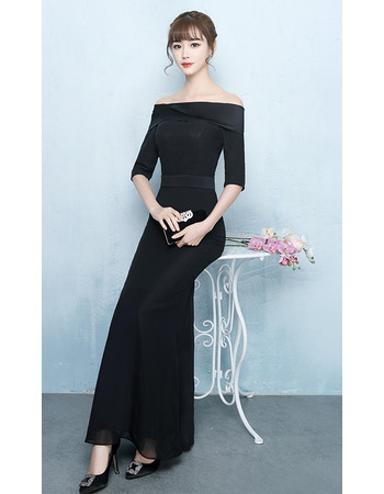 Custom Sheath Off-the-shoulder Chiffon Formal Evening Dress with Half Sleeves