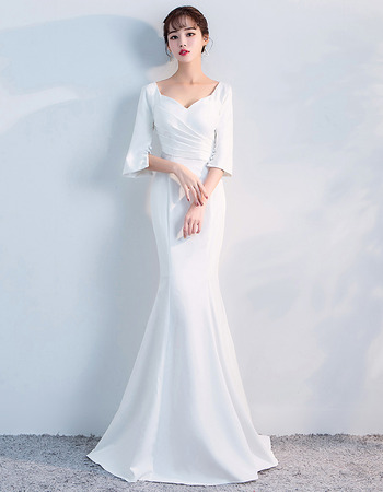 Elegant Mermaid Sweetheart Long Formal Evening Dress with Half Sleeves