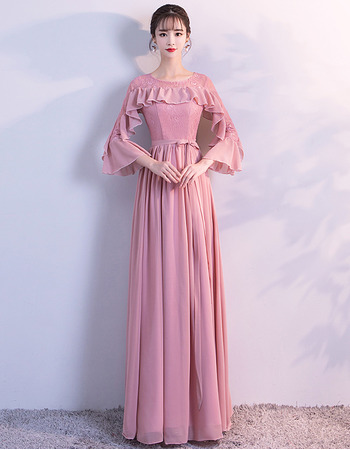 2018 New Style Long Chiffon Formal Evening Dress with 3/4 Long Sleeves