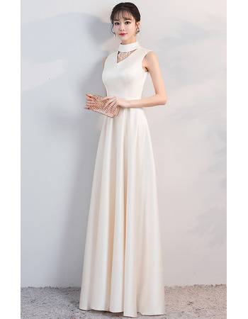 Custom Mock Neck Sleeveless Floor Length Satin Formal Evening Dress