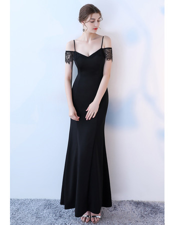 Sexy Spaghetti Straps Long Formal Evening Dress with Short Lace Sleeves