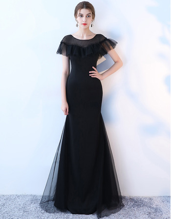 2018 New Style Sheath Short Sleeves Floor Length Formal Evening Dress