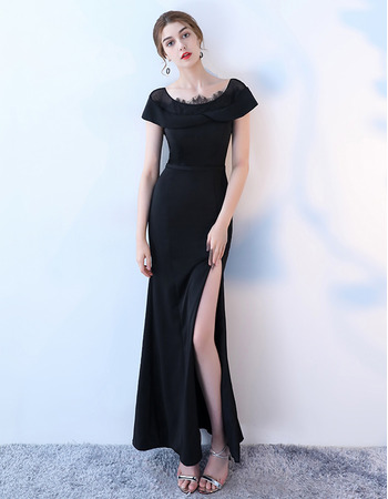 Custom Sheath Short Sleeves Floor Length Satin Formal Evening Dress with Slit
