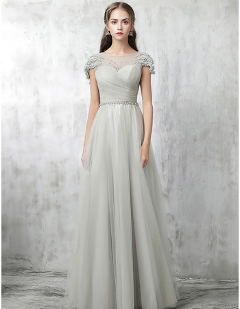 Inexpensive Cap Sleeves Floor Length Satin Tulle Formal Evening Dress