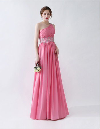 2018 New Style One Shoulder Floor Length Chiffon Formal Evening Dress