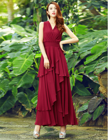 Custom V-Neck Sleeveless Ankle Length Chiffon Formal Evening Dress