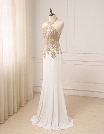 Affordable Sheath Halter Floor Length Chiffon Embroidery Formal Evening Dress