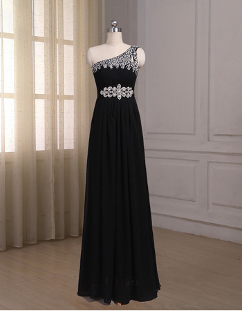 Elegant One Shoulder Sleeveless Floor Length Chiffon Formal Evening Dress