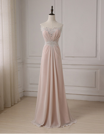 2018 New Style Sweetheart Floor Length Chiffon Formal Evening Dress