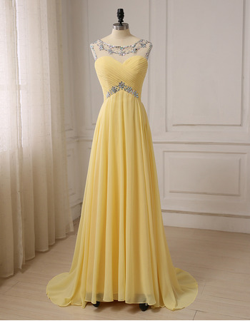 Custom A-Line Sleeveless Floor Length Chiffon Formal Evening Dress