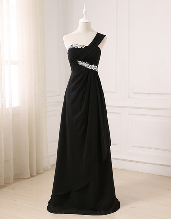 Elegant One Shoulder Floor Length Chiffon Black Formal Evening Dress