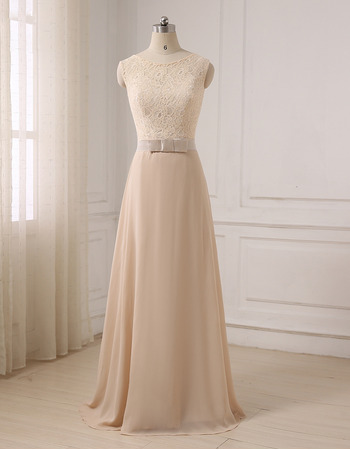 2018 Style Sleeveless Floor Length Chiffon Lace Formal Evening Dress