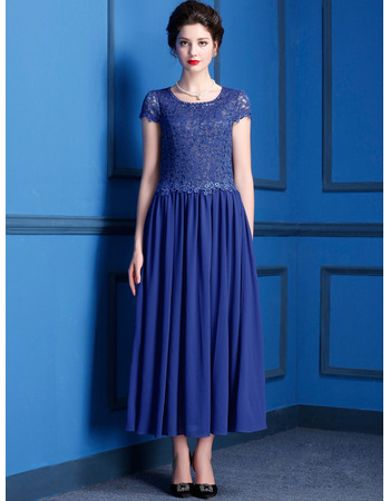 Custom Modest Tea Length Chiffon Lace Mother of the Bride Dress with Short Sleeves