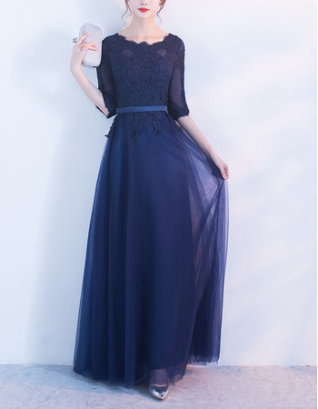 2018 Affordable Classy Long Maxi Satin Tulle Formal Mother Dress with Half Sleeves