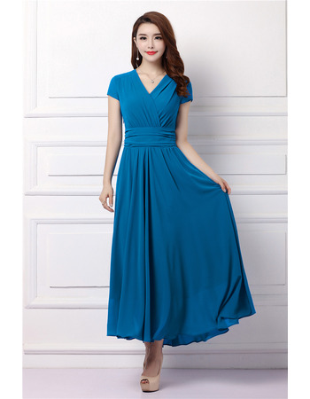Simple Modest V-Neck Tea Length Chiffon Formal Mother Dress with Short Sleeves