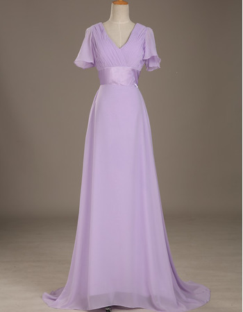 Affordable Custom V-Neck Long Chiffon Formal Mother Dress with Short Sleeves