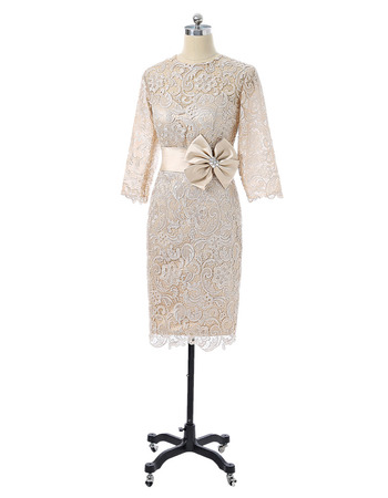 Custom Designer Column Floor Length Lace Bodycon Formal Mother Dress with 3/4 Long Sleeves
