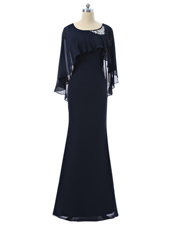 Discount Designer Modern Sheath Black Long Chiffon Formal Mother Dress with Wraps
