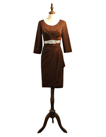 Discount Elegant Knee Length Satin Short Formal Mother Dress with 3/4 Long Sleeves