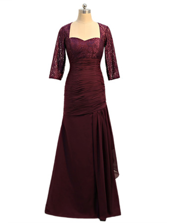 Inexpensive Custom Designer Long Plus Size Formal Mother Dress with 3/4 Long Lace Sleeves