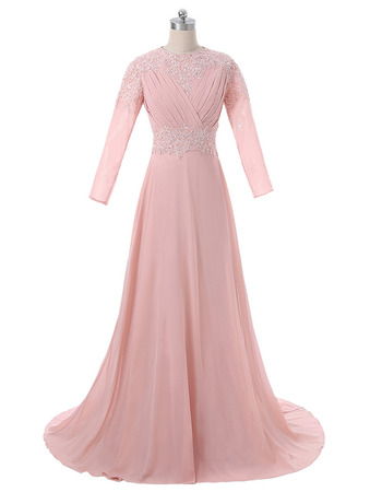 Women's Elegant A-Line Sweep Train Chiffon Formal Mother Dress with Long Sleeves